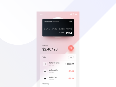 Finance App clean credit futurism gradient visa fintech pay money wallet transfer banking ios credit card bank app payment dashboard finance ui adobexd