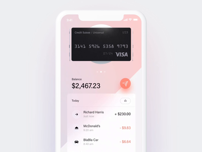 3D interaction for Finance Application uiux credit ios money transfer money balance payment bank interaction credit card banking fintech finance 3d animation 3d c4d cinema4d adobexd
