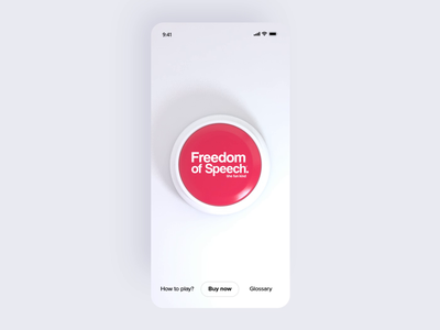 Freedom of Speech concept button design button animation heard red clear simple design game anim uxui app design application 3d animation 3d cinema4d c4d ui adobexd