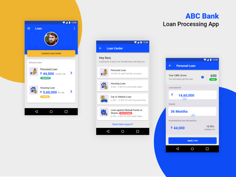 ABC Bank Loan Processing App + 1 Dribbble Invite simple design ui blue simple banking app bank app banking bank landing interface clean website dailyui creative ravidelixan