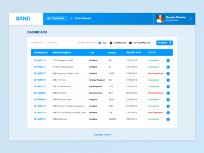 Sand - Simple Dashboard for Requester ui interface trending clean dailyui ravidelixan web application design web application application web apps apps app web web app dashboad dashboard template dashboard app dashboard ui dashboard design dashboard
