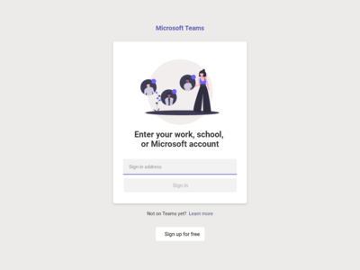 Microsoft Teams  - sign up page - remake