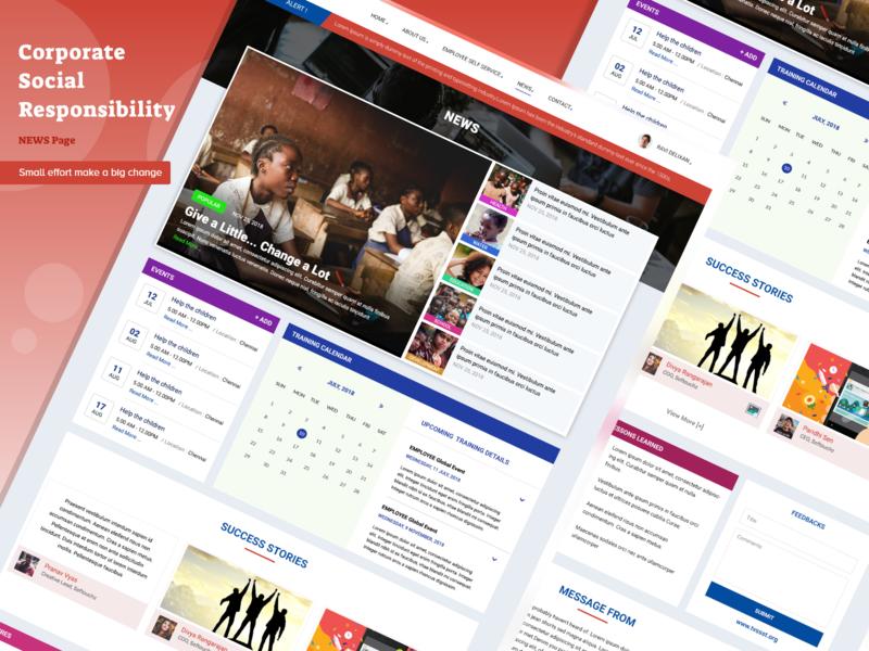 Project : Corporate Social Responsibility - News Page app branding web website landing design dailyui uidesign flat news page news ravidelixan