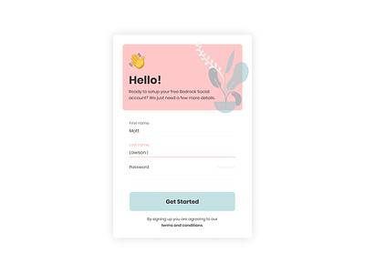 Bedrock Social Sign Up Form form design social ui social dashboard social platform xd adobexd collection branding card design web minimal ui flat ui kit signup form app ui design