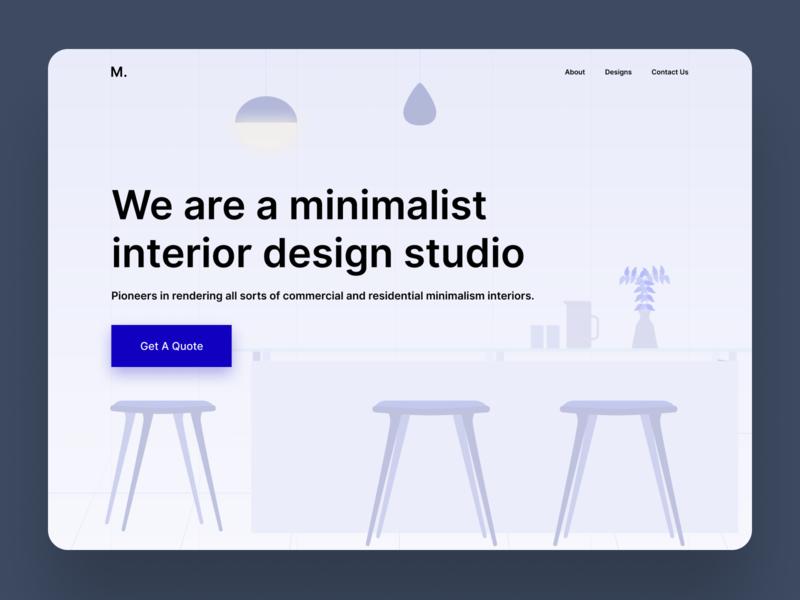 Landing Page - Interior design studio illustration design ux user interface interior furniture landing page website minimal clean interface design interior design