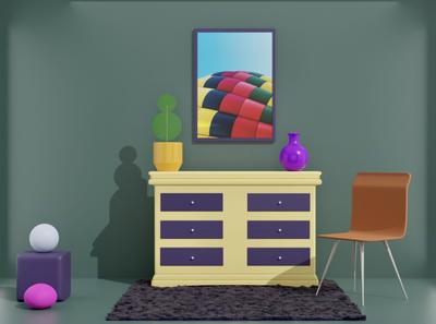 Interior Scene - 3D Experiment 3d illustration web desk interior abstract render illustration ui ux design blender c4d 3d