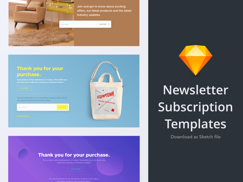 Newsletter Subscription UI Kit freebie webkit interface design ui gui web element newsletter subscribe template ui kit