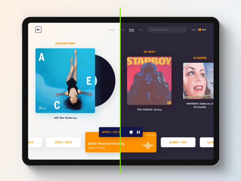 Music App - Radio discover app dark desktop app player music minimal radio app clean interface design ux ui