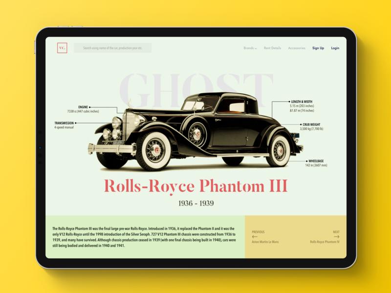 Vintage Car website interface design old clean web deisgn history classic vintage car ui ux landing page website