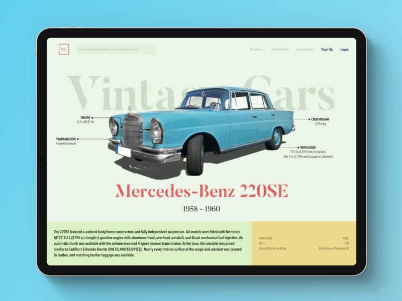 Vintage Car Website web desgin vintage car old interface design ux ui landing page website clean classic