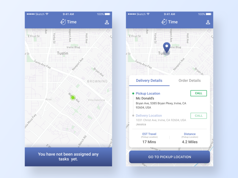 Food Delivery App - Driver's Perspective pickup shopping restaurant minimal food app interface design ui ux