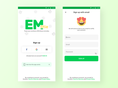 Emotie - Track your emotional health everyday ui track goal email signup emoji interface uidesign android design ios clean app