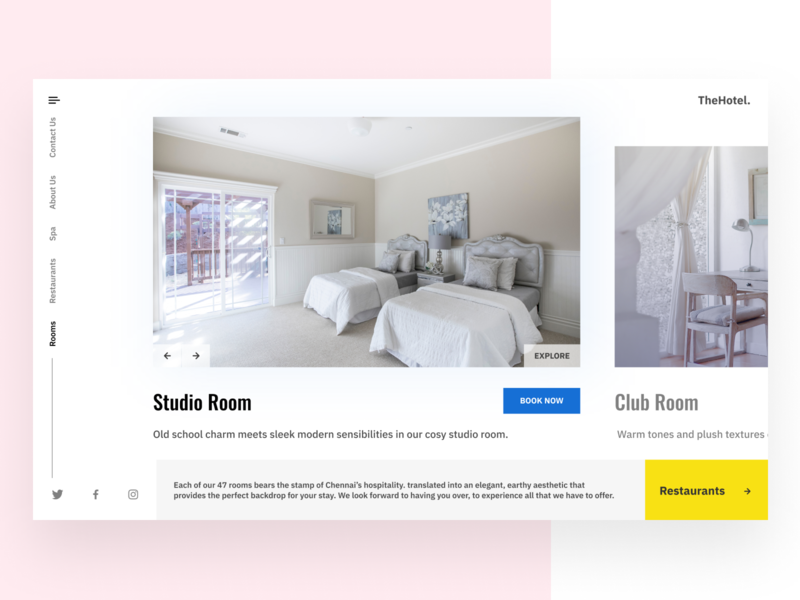 Hotel Website - Book a room navigation restaurants landing page hotel web design booking travel website clean ui ux interface design website