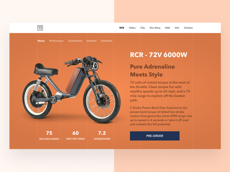 Electric Vehicle - Onyx website re-design navigation wireframe design drive road vehicle electric bike bike clean landing page website interface design