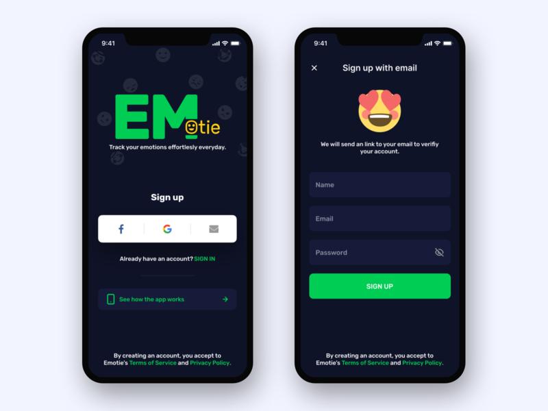 Emotie - Mobile App interface design dark mode dark ui onboarding email signup login ux ui app emoji emotion