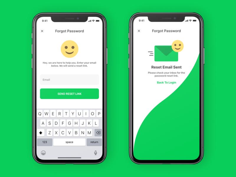 Emotie - Mobile App login reset password password interface sign in emoji email ios clean ux ui app