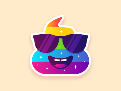 Poop bright like a diamond 🌈💩 print shine diamond illustration stickers sticker character gradient minimal smiley cool flat holo sticker design stickermule shit poop emoji rainbow