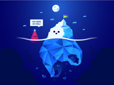 You Seem So Chill 😎 night ice mood plastic bag recycling climate change character polygonal poly underwater sea ocean buoy iceberg depression bipolar mental health awareness mental health illustration