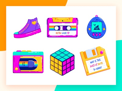 The 90s Favorites love children childhood retro back to the future design oldschool poop floppy disk tamagotchi cassette cube 90s flat icon illustration