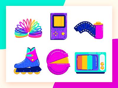 The 90s Favorites Part 2 retro 90s toys tetris gameboy photo photography skate hubba bubba rainbow design gradients minimal icon illustration