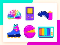 The 90s Favorites Part 2 retro 90s toys tetris gameboy photo photography skate hubba bubba rainbow design gradients minimal icon illustration
