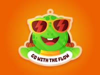 Go With The Flow 🐢 sunglasses sun cool smiley ocean animal stickers sea turtle emoji character cartoon sticker mule stickermule sticker charm vector gradients minimal illustration