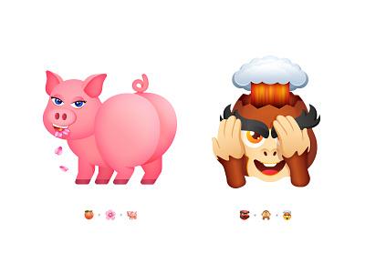 3 Emoji Challenge Part 1 3d emoji set fun emoticon chat sticker smile smiley explosion peach sakura monkey pig challenge emoji character gradients minimal icon illustration