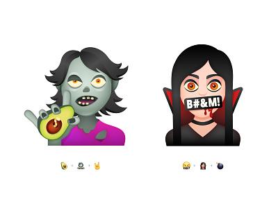 3 Emoji Challenge Part 2 boom vamp fun rock icon minimal character emoji set challenge smile sticker chat emoticons emoji 3d gradients avocado vampire zombie illustration
