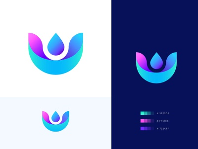 Abstract Lily Logo Design 💧 water aroma relax dailyui icon design flower shape app spa therapy yoga lily abstract abstract logo logo branding identity gradients minimal icon