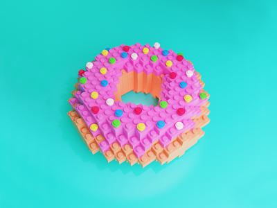 3D Lego Donut 🍩 sweet logo bakery doughnut dessert pastry cinema4d illustration pink donut food render blender flat c4d 3d modeling 3d artist 3d art 3d