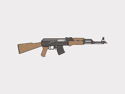 AK47 sketch wood illustration gun