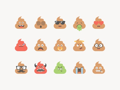 Poop Set #1 character flat illustration characters shit smile smiley emoji