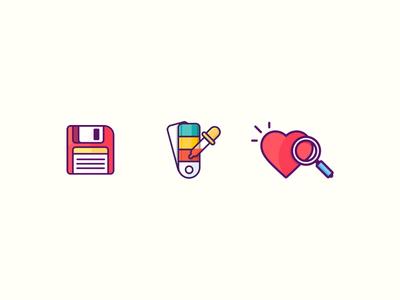 Love Week iconset icon outline love valentine flat illustration zoom tool heart floppy disk brush palette