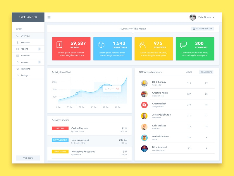 Dashboard UI Design by Zivile Zickute - Dribbble