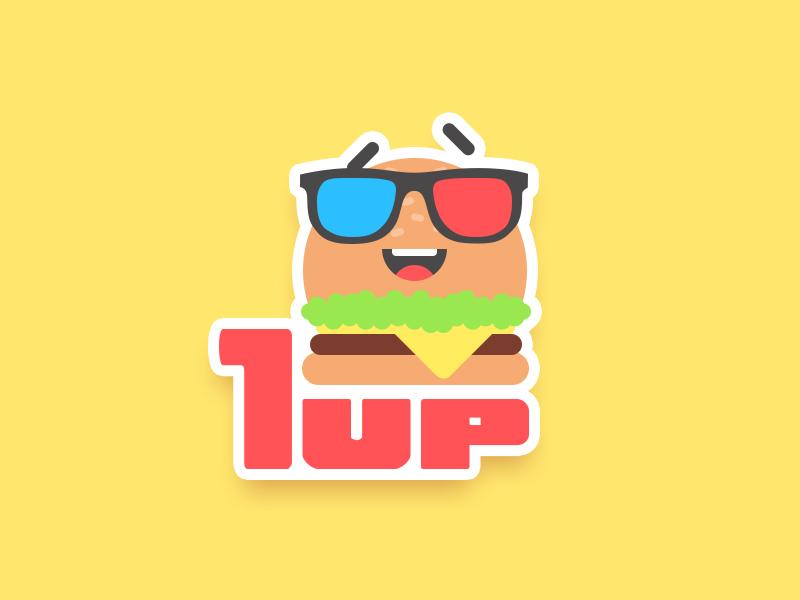1up Burger Magnets illustration flat sticker magnet stickermule emoji burger character