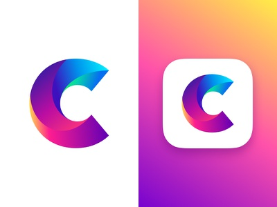Letter C Concept logo adobe gradients letter typography dailyui branding illustration app identity ios 10 icon