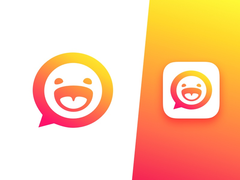 Emoticons App Icon sticker stickers clean minimal ios icon logo identity gradients emoji smiley app