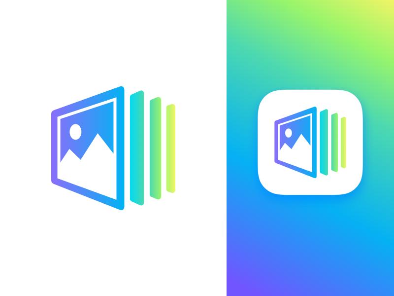 Photo App Icon minimal photo logo identity icon gradients dailyui branding app
