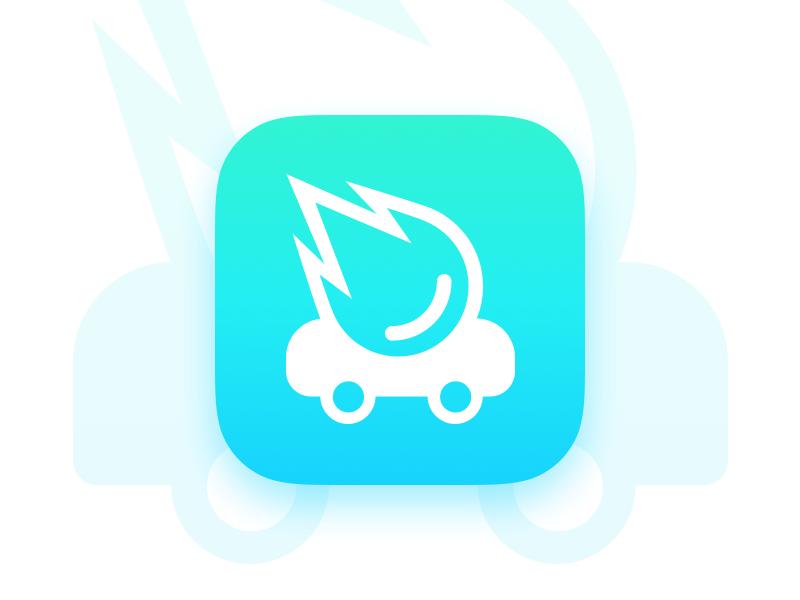 Car App Concept app gradients icon logo minimal identity car blue comet dailyui branding