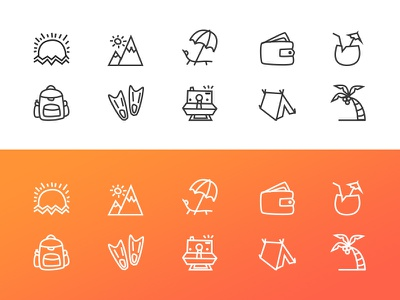 Vacation icons 🏝 invitation invite dribbble draft webdesign foto backpack travel line vacation icons outline