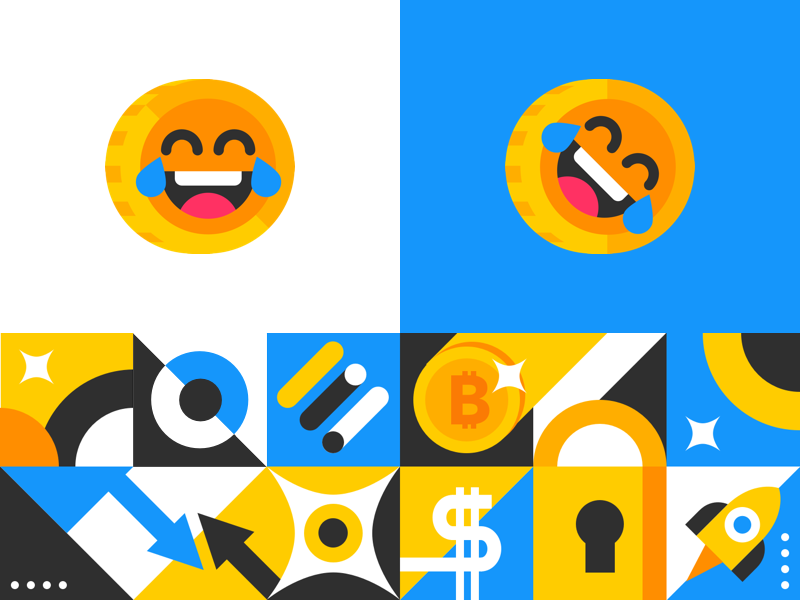 Visual Identity 🤣 smile flat emoji bitcoin illustration shapes geometry abstract logo branding identity pattern