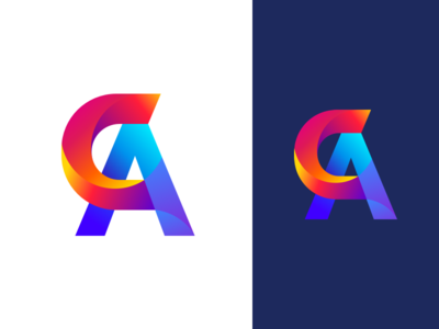 C+A Logo Design icon c a identity app illustration branding dailyui typography letter gradients logo