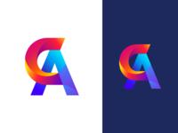 C+A Logo Design icon c a identity app illustration branding dailyui typography letter gradients logo