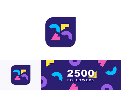 2500 Followers 🎉 25 dailyui logo gradients letters octopus abstract geometric concept typography branding identity