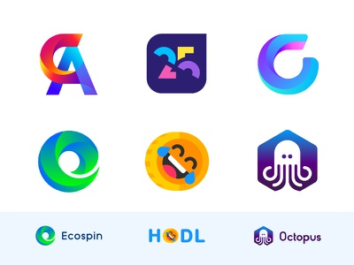 Logo Design Collection 2018 (Behance) crypto cryptocurrency finance letter c g a emoji smile face happy typography concept icon minimal gradient logo logofolio identity branding