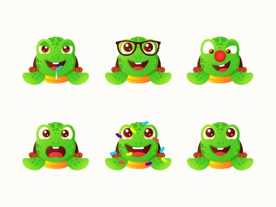 Turtle Emoji Stickers 🐢 illustration stickers ninja pizza turtle animal character emoji rainbow gradient minimal smiley stickermule sticker vector cartoon ocean sea