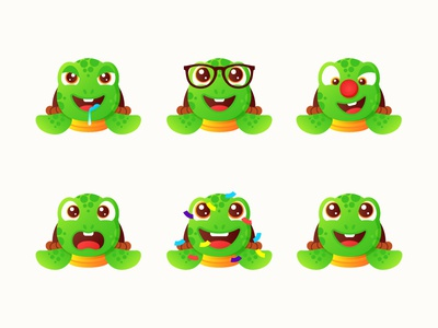 Turtle Emoji Stickers 🐢 illustration stickers ninja pizza turtle animal character emoji rainbow gradient minimal smiley stickermule sticker vector cartoon ocean sea