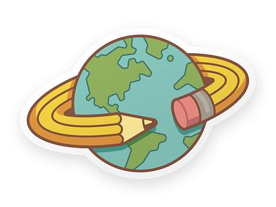 Creatives Unite Alternate planet space pencil earth sticker