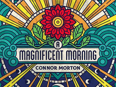 Morning Album Art geometic sunlight beams day night vector art musician single art vector flower symetry mono line monoline line art morning sunrise music album art illustration