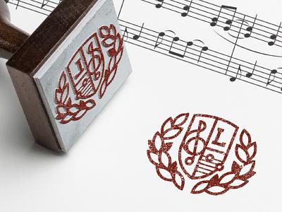 Music Publishing Stamp laurel emblem crest logo stamp